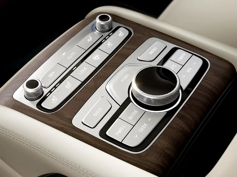 Rear armrest with remote & climate controls